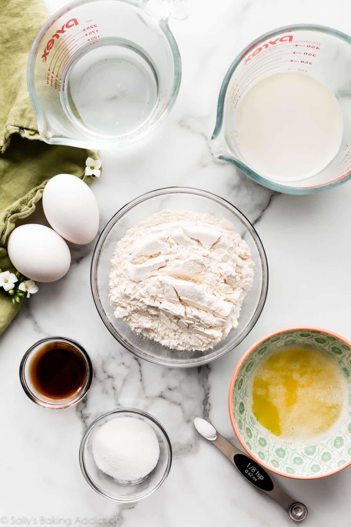 farine beurre oeufs de lait et sucre