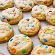 Chewy Rainbow M&M Cookies - soft-baked cookie recipe on sallysbakingaddiction.com