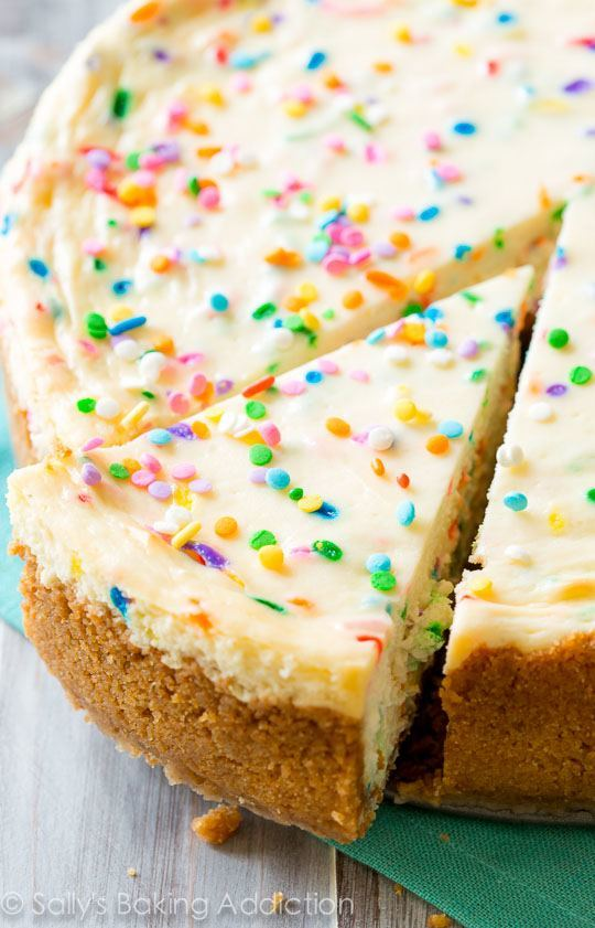 Funfetti Cheesecake on sallysbakingaddiction.com. Doesn't get much better than this!