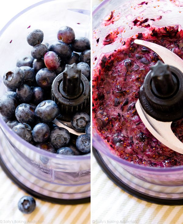 How to make 3 ingredient blueberry yogurt popsicles on sallysbakingaddiction.com