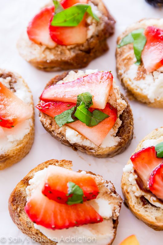 Strawberry Goat Cheese Crostini with Balsamic Reduction