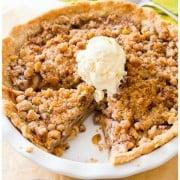 Apple Crumble Pie-- grab this indulgently delicious recipe on sallysbakingaddiction.com