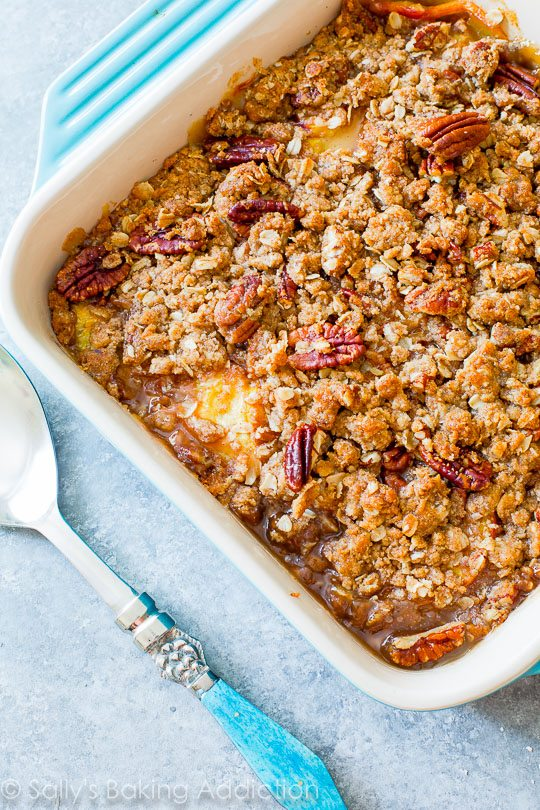 Sweet Peach Crisp with Toasted Pecans-- grab the recipe on sallysbakingaddiction.com