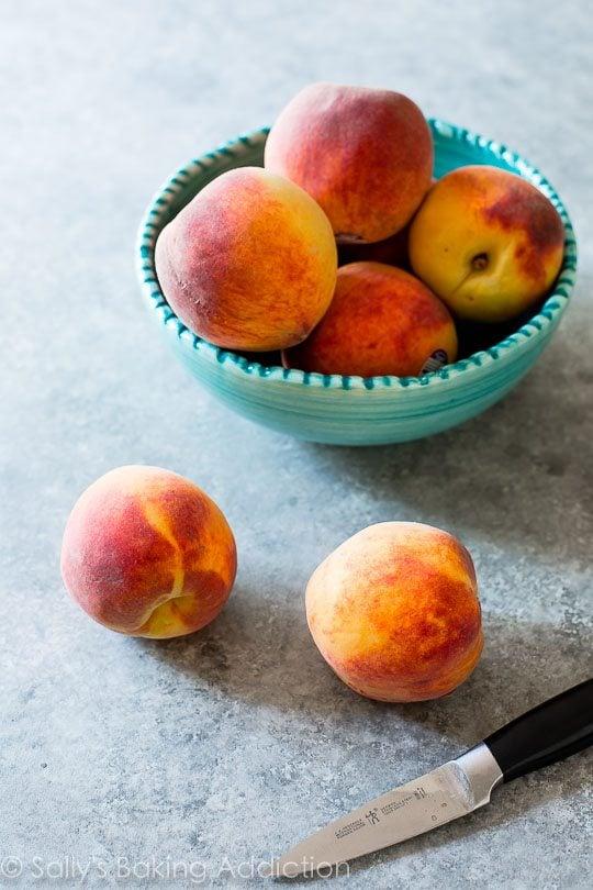 Peaches for Peach Pecan Crisp sallysbakingaddiction.com