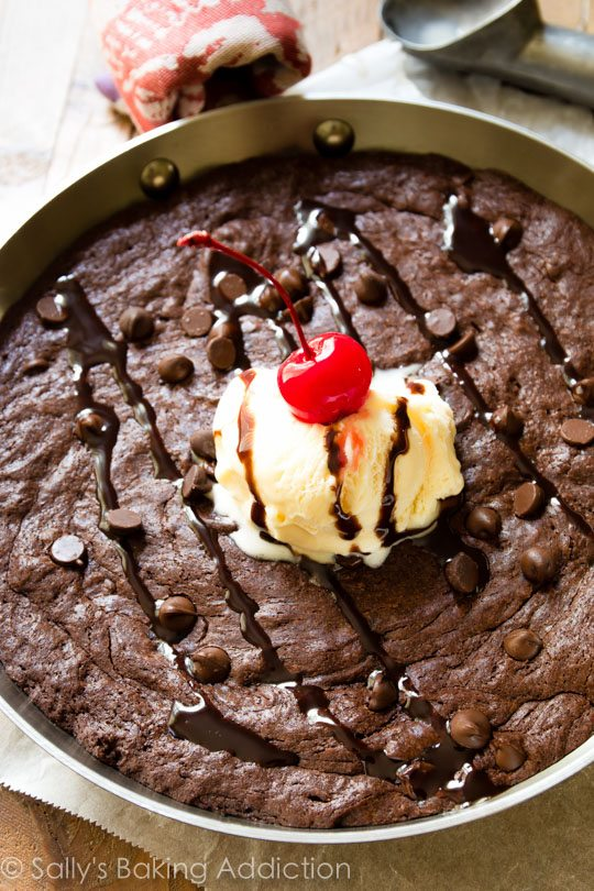 How to make Sally's Baking Addiction Skillet Brownie recipe!
