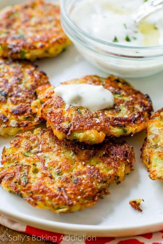 Zucchini Fritters with Garlic Herb Yogurt SauceSallys Baking