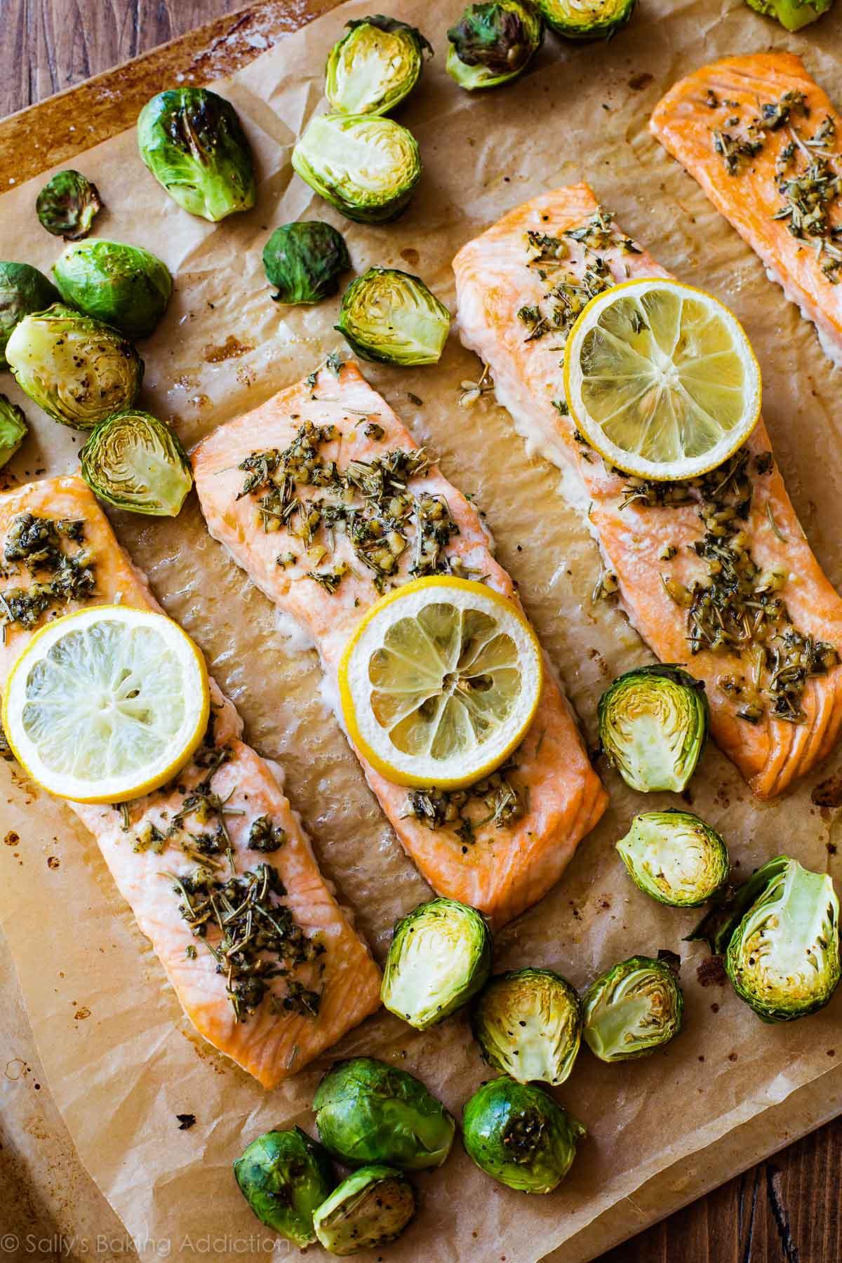 Easy and healthy baked lemon herb salmon on sallysbakingaddiction.com