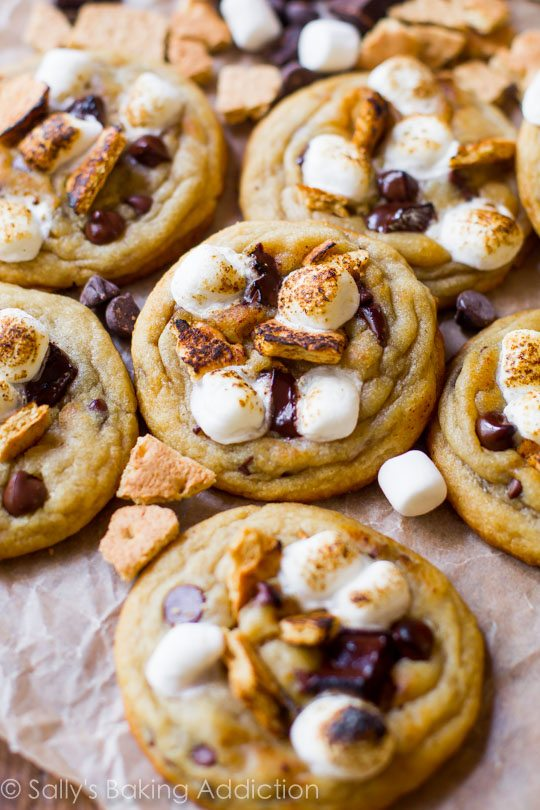 Toasted S'more Chocolate Chip Cookies-- extra soft and chewy on sallysbakingaddiction.com