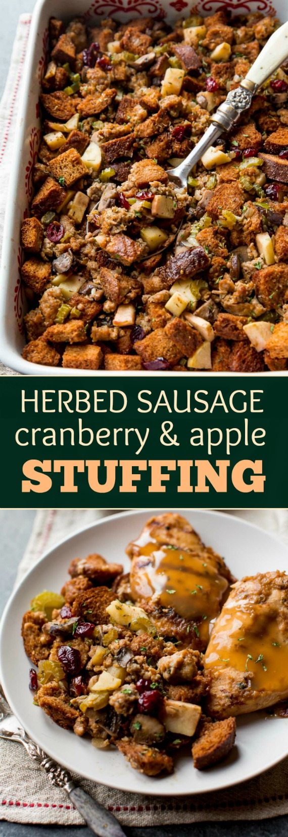 The BEST Thanksgiving dressing recipe! With apples, sausage, savory ...