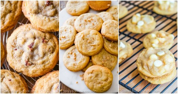 butter pecan cookies, salted vanilla toffee cookies, and white chocolate macadamia nut cookies