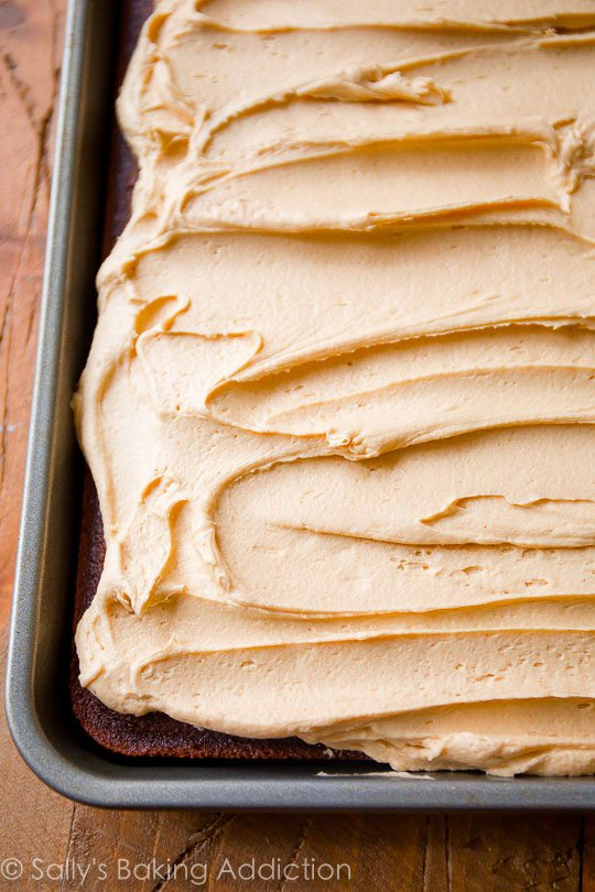 The BEST and creamiest peanut butter frosting!! Easy recipe on sallysbakingaddiction.com