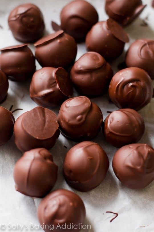 Intensely satisfying dark chocolate truffles made with healthier ingredients!! Easy recipe found on sallysbakingaddiction.com