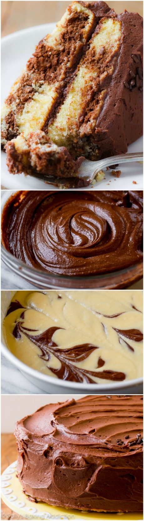 How to make the best, most buttery and rich marble cake from scratch!! Complete step-by-step photos and recipe on sallysbakingaddiction.com