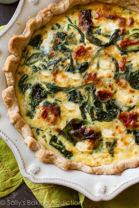 Fried Garlic, Spinach And Goat Cheese Quiche Recipe — Dishmaps