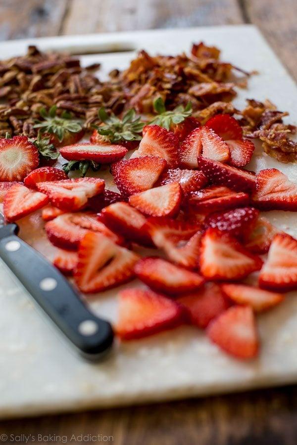 Ingredients for strawberry bacon salad on sallysbakingaddiction.com
