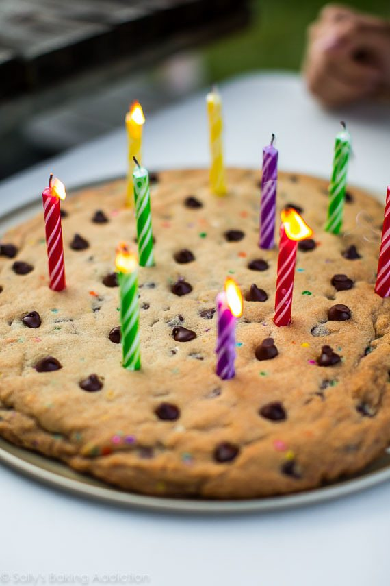 Birthday chocolate chip cookie pizza on sallysbakingaddiction.com