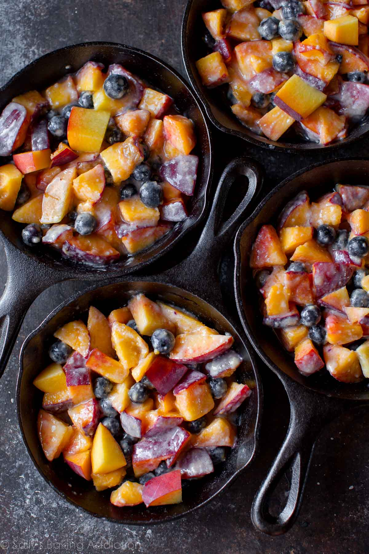 Blueberry peach crisp recipe on sallysbakingaddiction.com