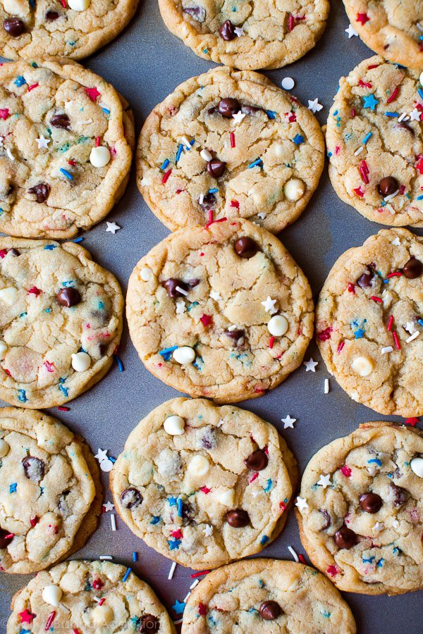 4th of July Cake Batter Chocolate Chip Cookies
