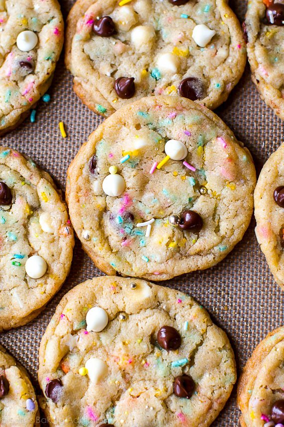 cookie tips - cake batter chocolate chip cookies