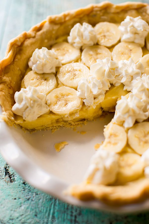 How to make banana cream pie from scratch! The most unbelievable filling, crust, whipped cream, and more! Recipe on sallysbakingaddiction.com