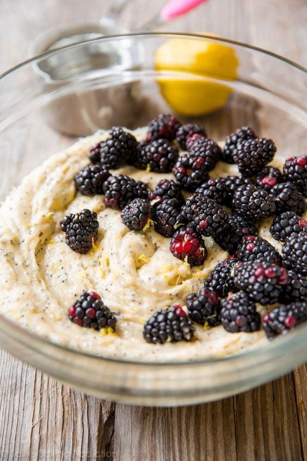 How to make blackberry lemon poppy seed muffins on sallysbakingaddiction.com