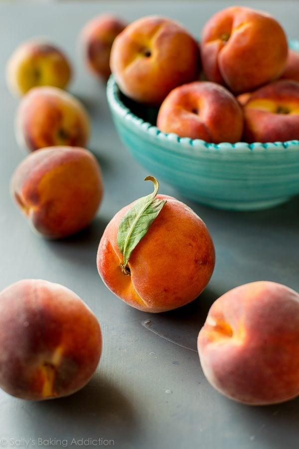 Peaches for peach cobbler on sallysbakingaddiction.com