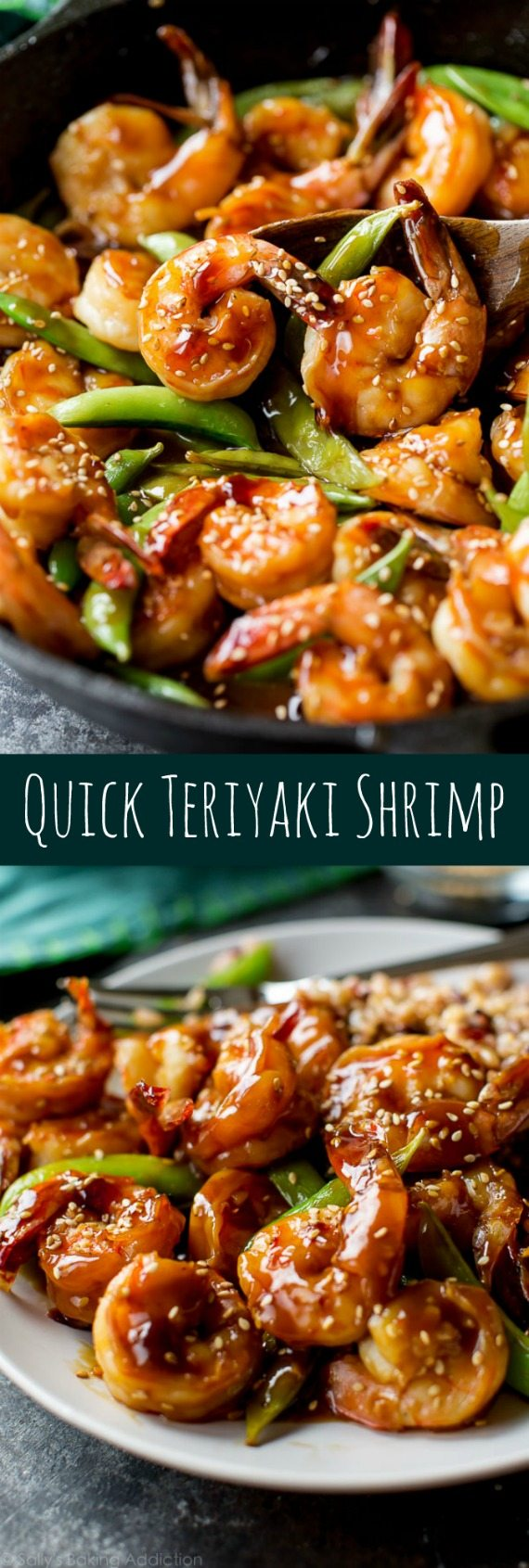Easy, healthy, and on the table in about 30 minutes! Quick homemade teriyaki shrimp recipe on sallysbakingaddiction.com