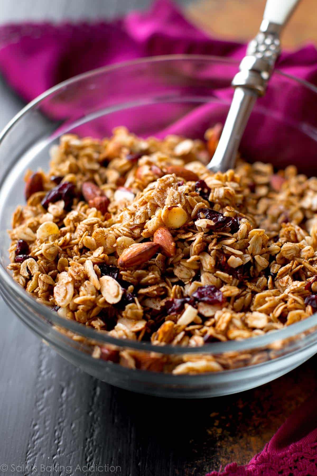 maple almond cranberry granola