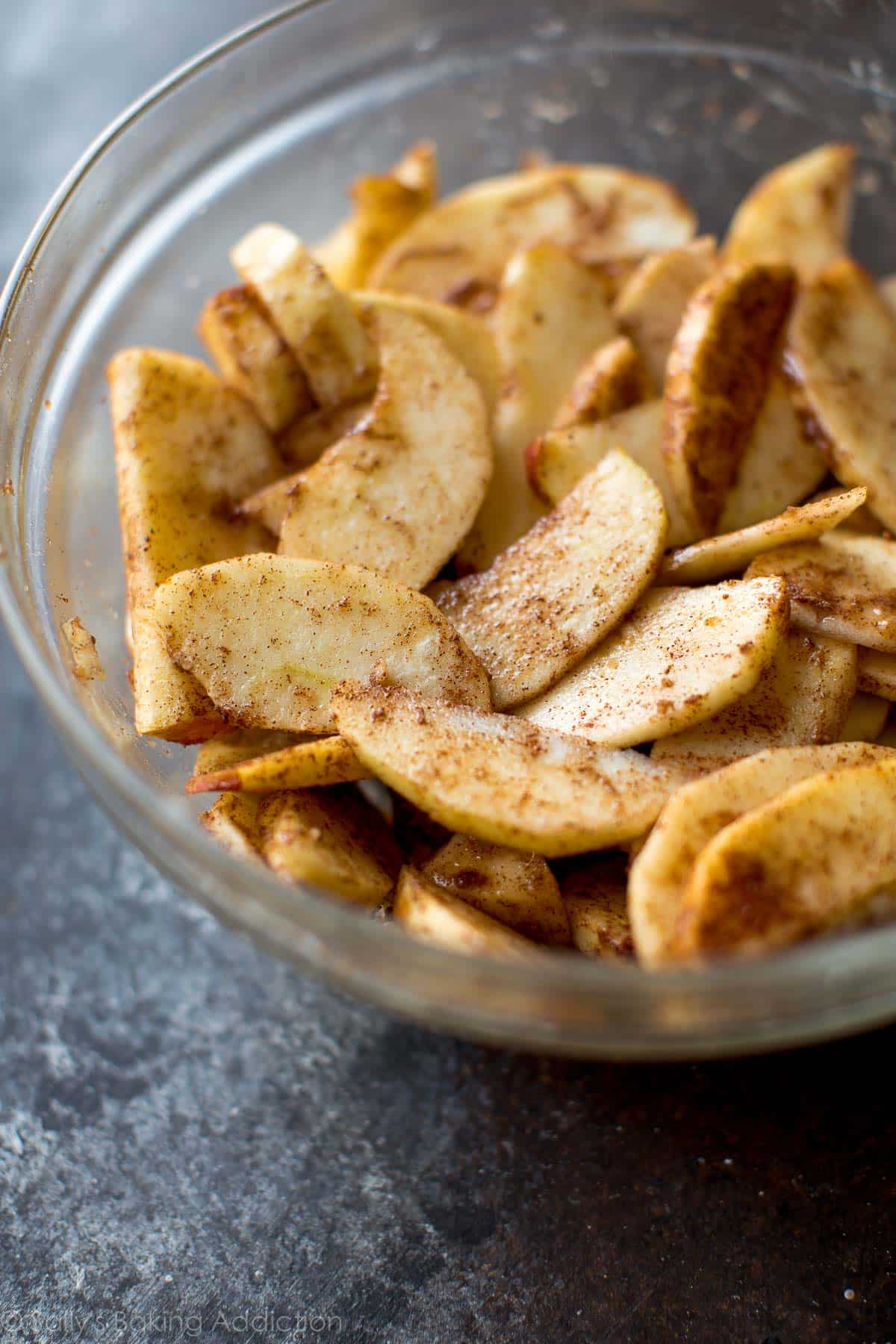 Sliced apples for salted caramel apple galette on sallysbakingaddiction.com