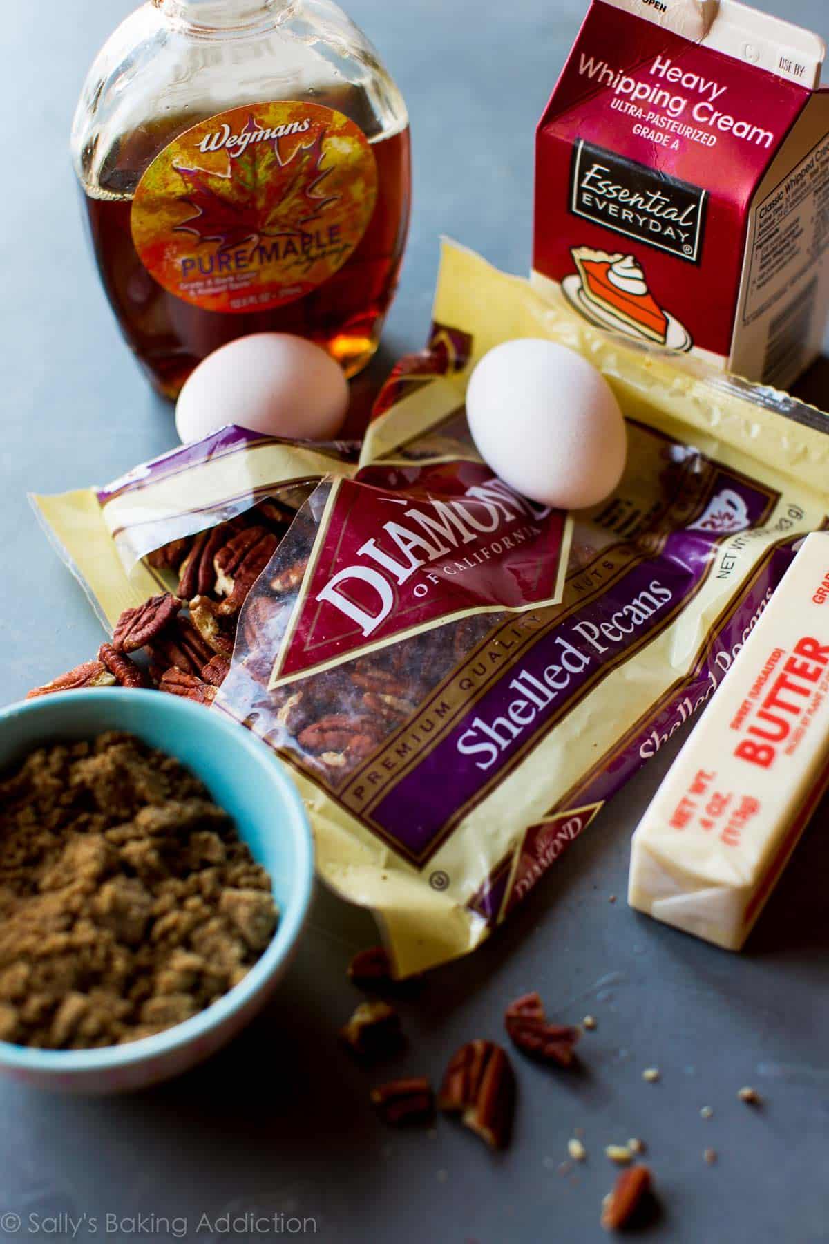 Ingredients for brown butter pecan pie bars on sallysbakingaddiction.com