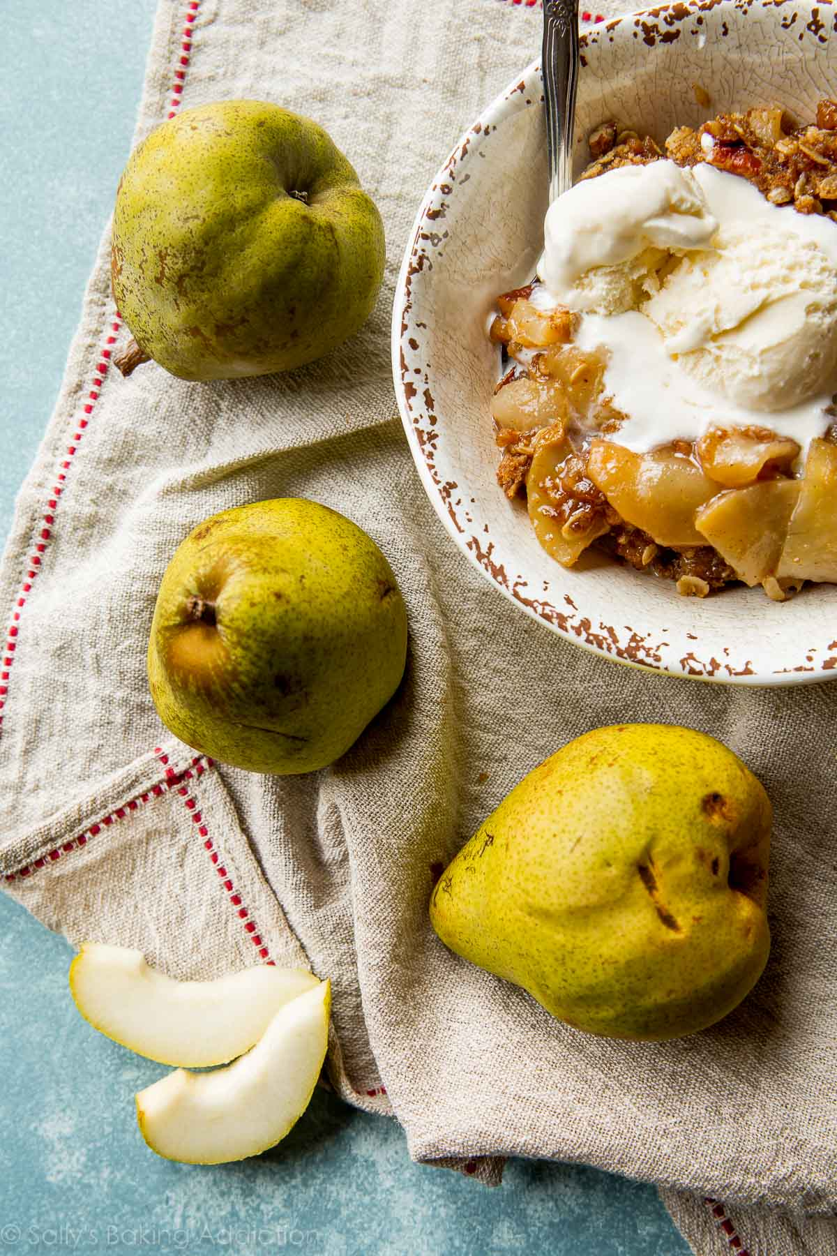 Brown sugar, cinnamon, oats, and fresh fruit come together in this buttery and irresistible apple pear crisp! Recipe on sallysbakingaddiction.com