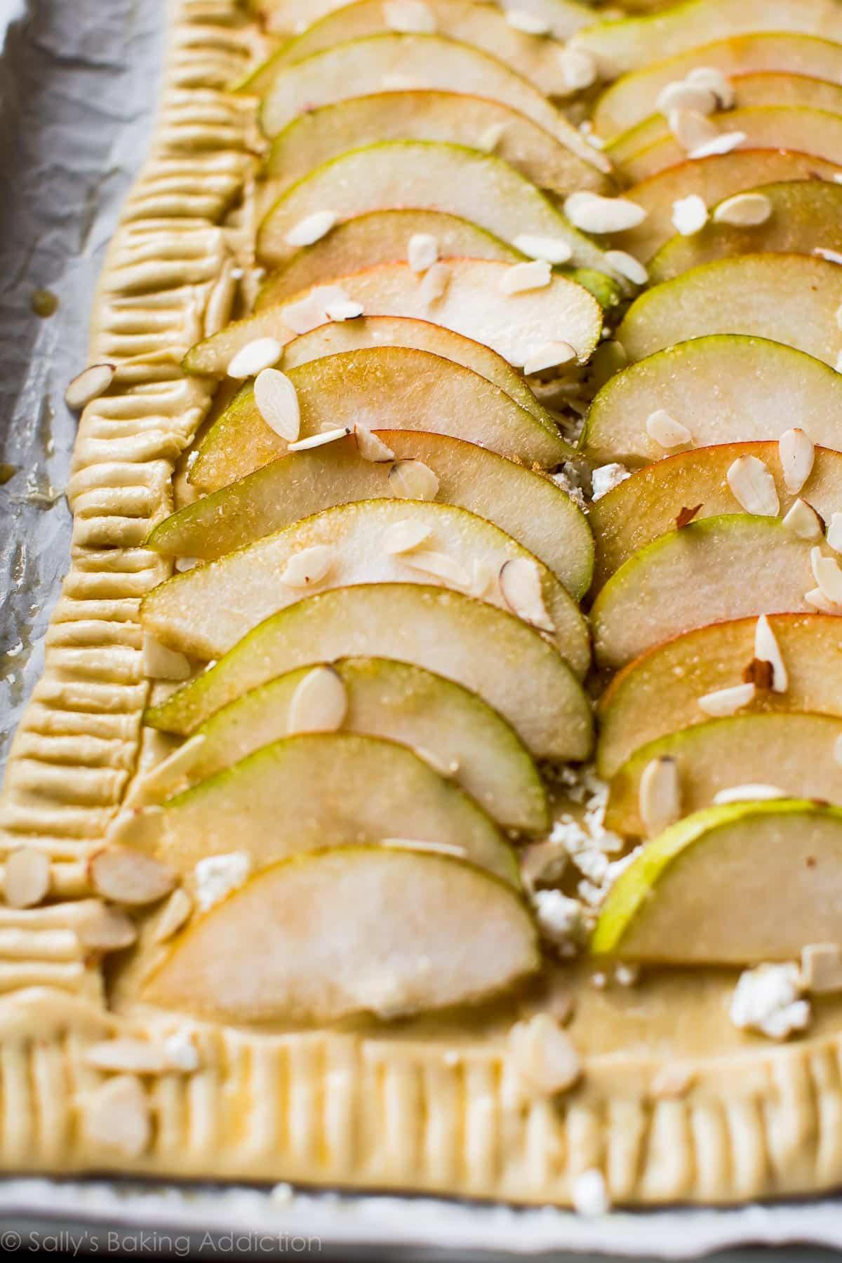 How to make honey pear tart on sallysbakingaddiction.com