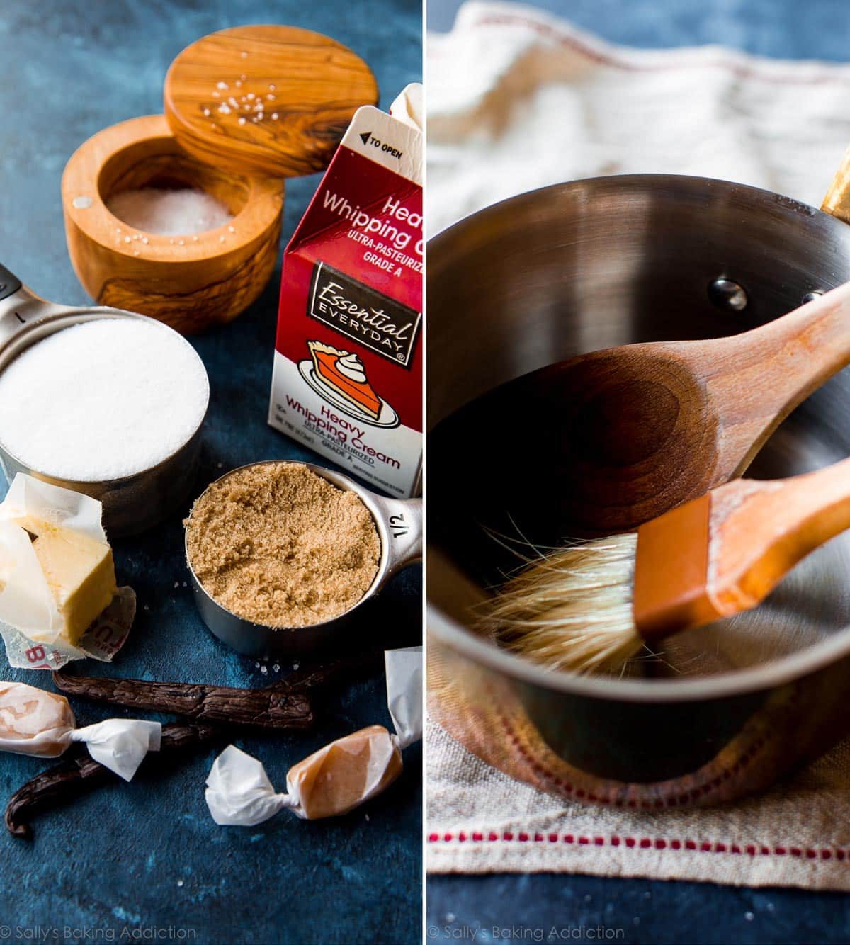 Ingredients and tools for making sea salt vanilla caramels on sallysbakingaddiction.com