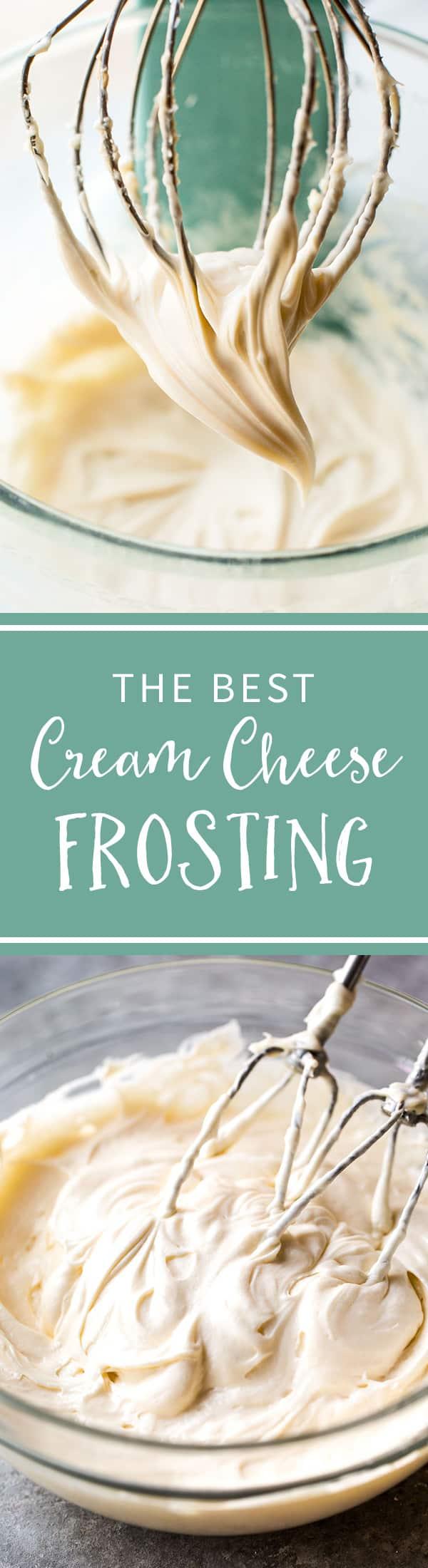The CREAMIEST and easiest cream cheese frosting recipe! Recipe on sallysbakingaddiction.com