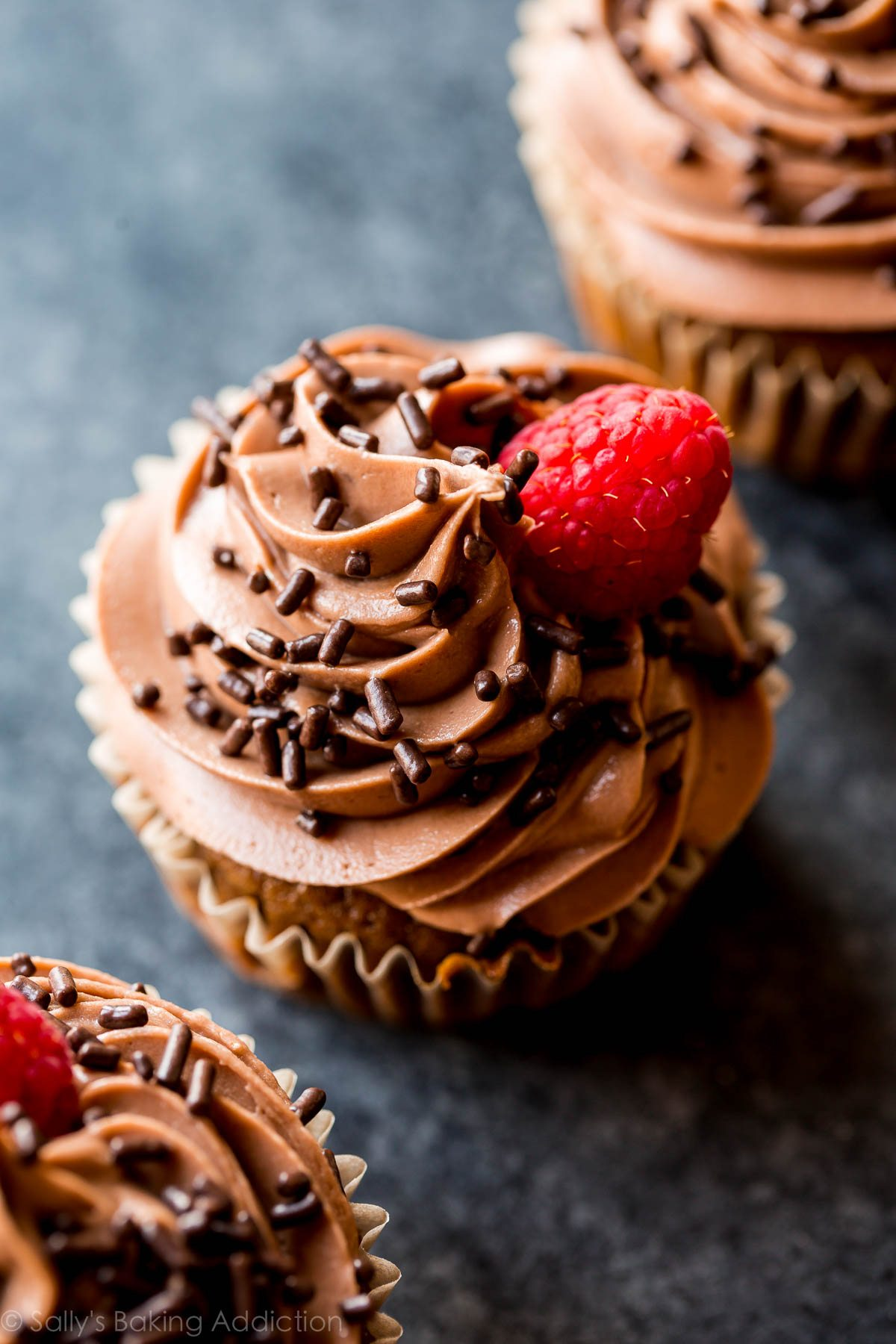 Soft, fluffy, and moist mocha nutella cupcakes! This frosting is unreal. So good! Recipe on sallysbakingaddiction.com