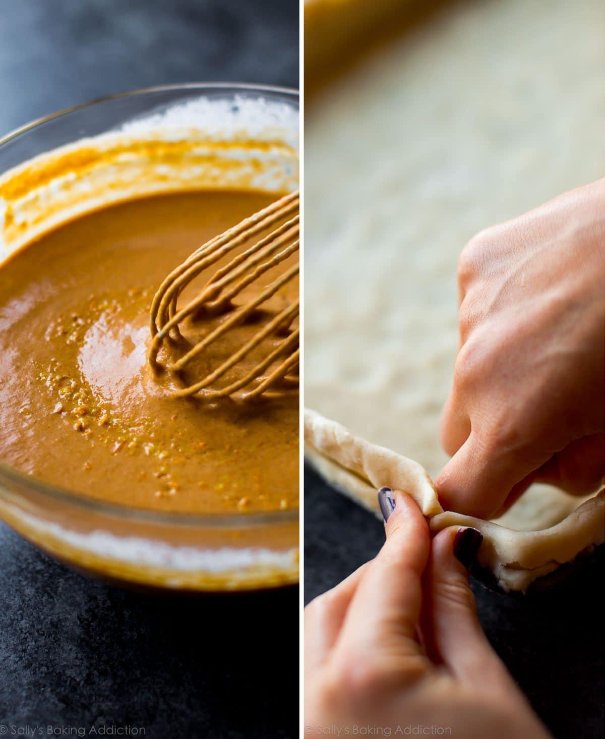 How to make pumpkin slab pie on sallysbakingaddiction.com