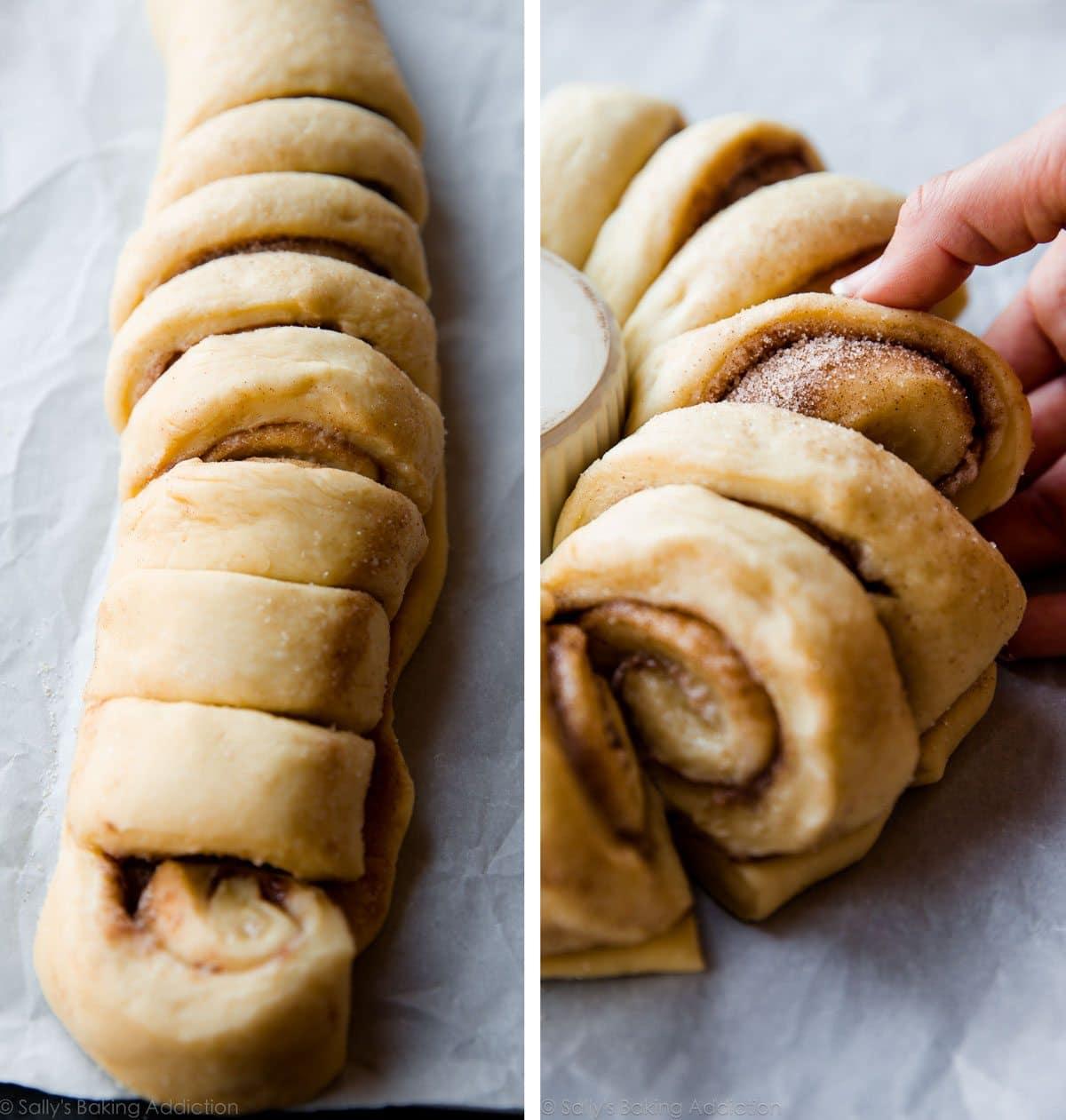 How to make a cinnamon roll wreath on sallysbakingaddiction.com