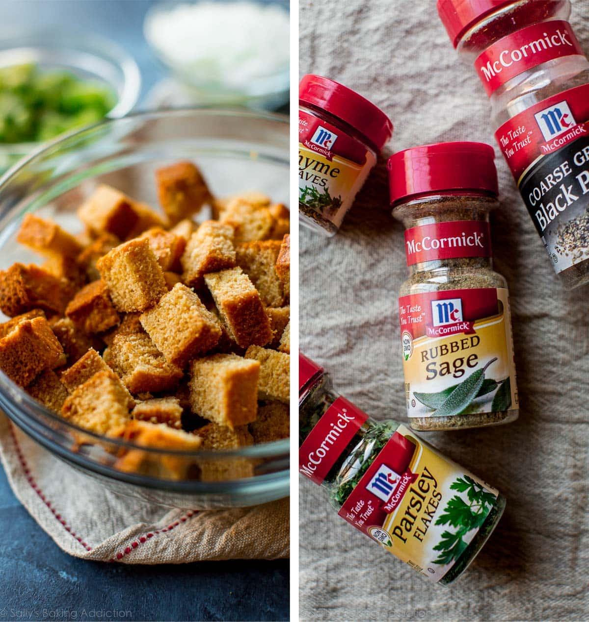 How to make make-ahead cornbread stuffing recipe on sallysbakingaddiction.com