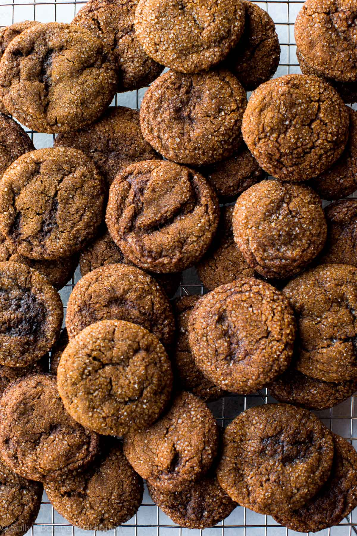 How to make crisp molasses cookies with a wonderfully crisp edge and PACKED with spice flavor! Recipe on sallysbakingaddiction.com