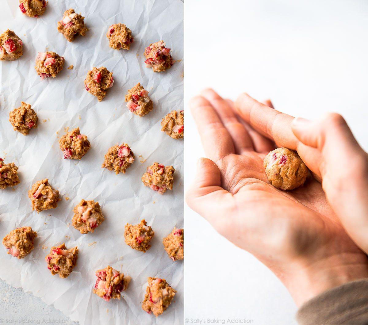How to make strawberry cheesecake truffles on sallysbakingaddiction.com