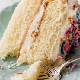 White cake with vanilla buttercream