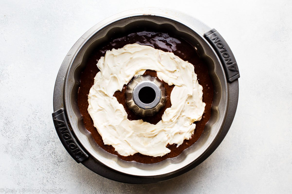 How to make chocolate cream cheese bundt cake on sallysbakingaddiction.com
