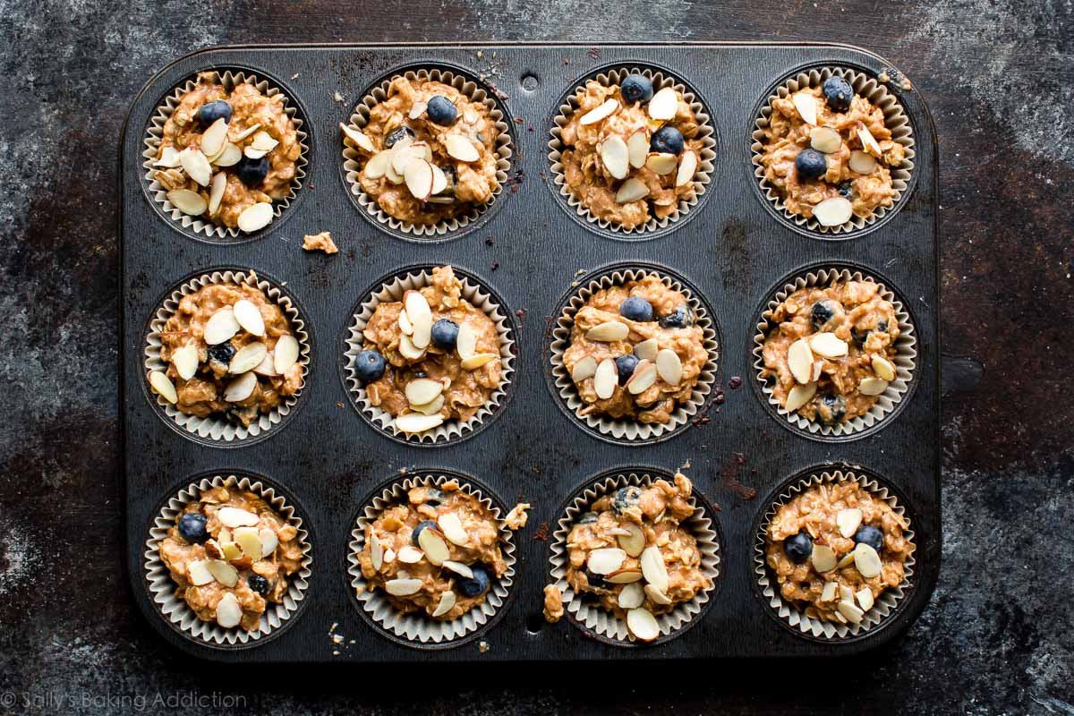 How to make blueberry almond muffins on sallysbakingaddiction.com