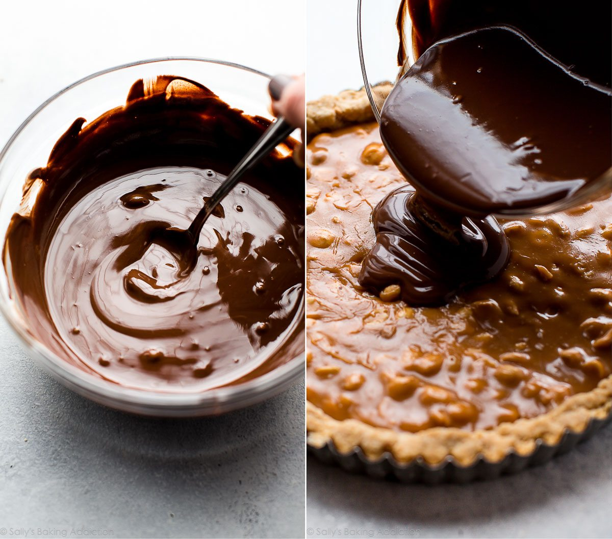 How to make Snickers caramel tart on sallysbakingaddiction.com