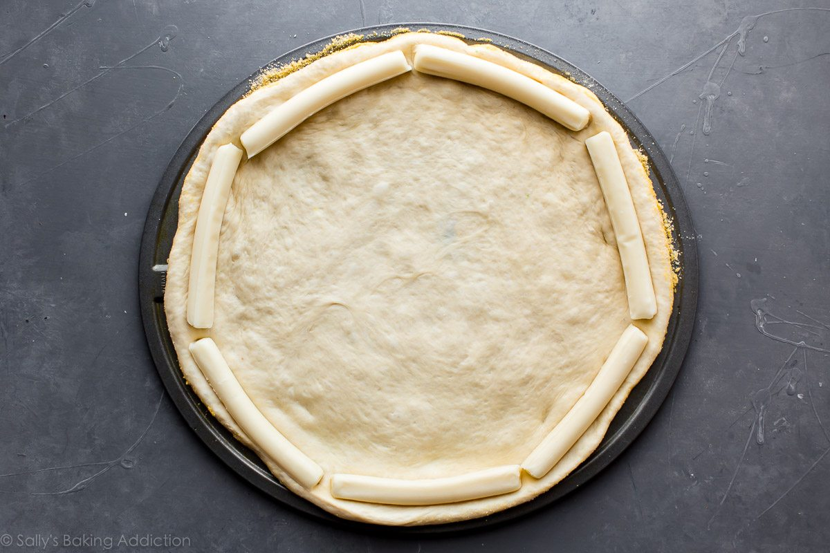 Stuffed crust pizza on sallysbakingaddiction.com
