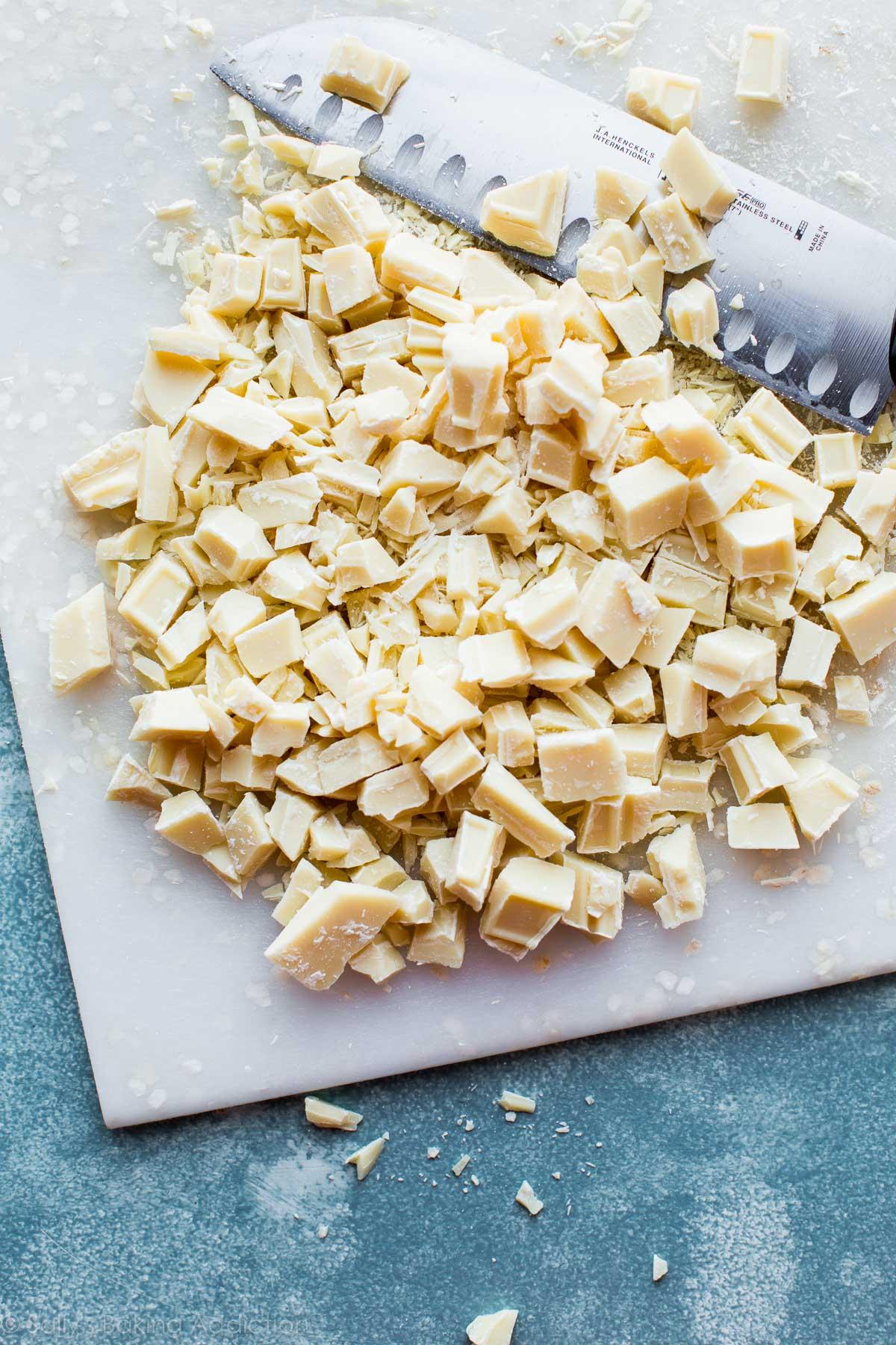 White chocolate for magical lucky charms bark on sallysbakingaddiction.com