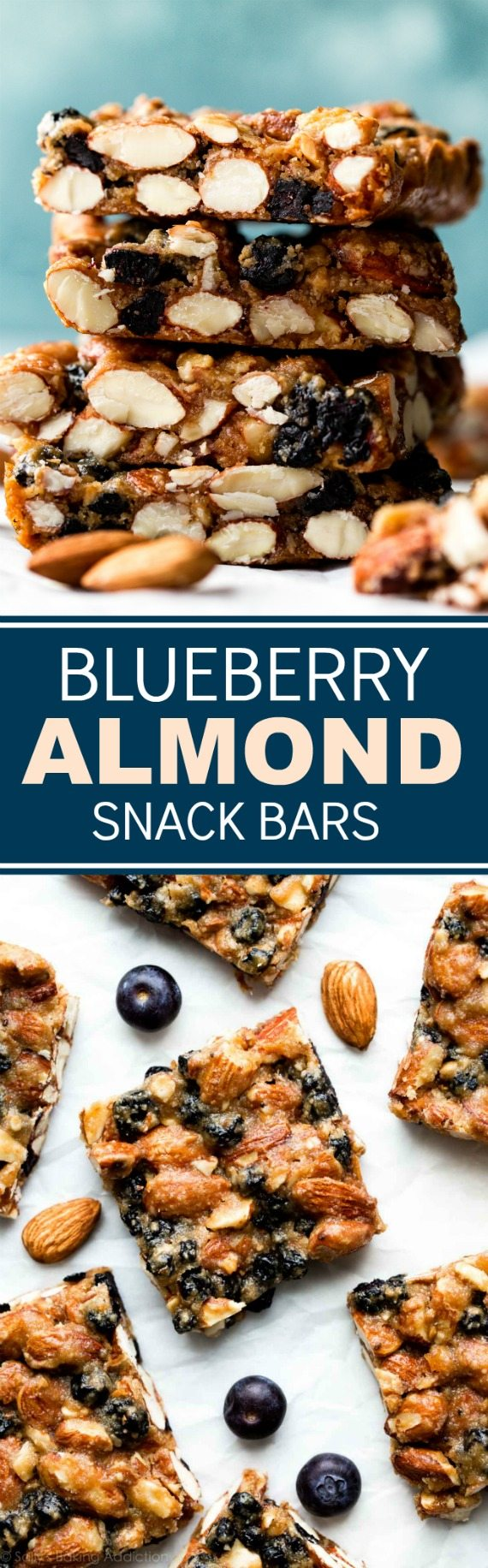 1 bowl and 7 REAL FOOD ingredients are all you need to make these freezer friendly gluten free blueberry almond snack bars! Recipe on sallysbakingaddiction.com