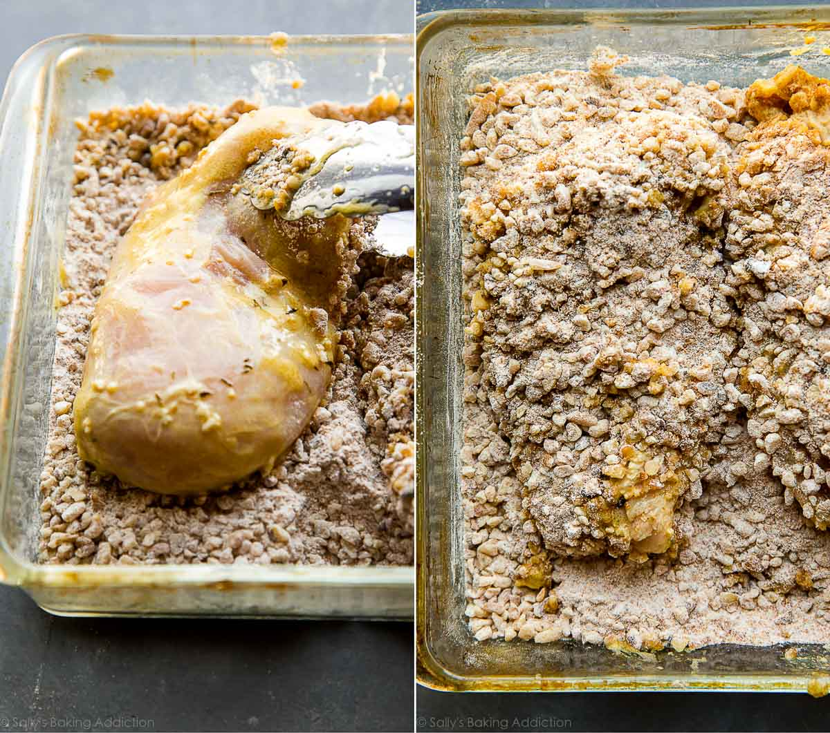 How to make walnut crusted chicken with honey mustard glaze on sallysbakingaddiction.com