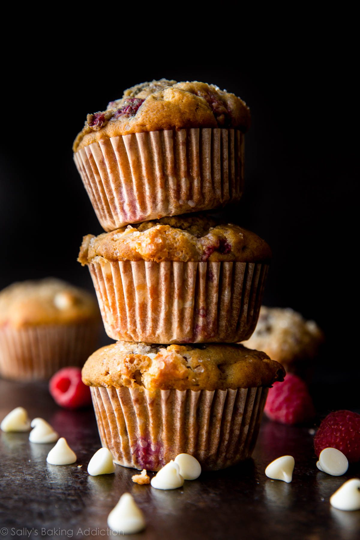 White chocolate raspberry muffins on sallysbakingaddiction.com