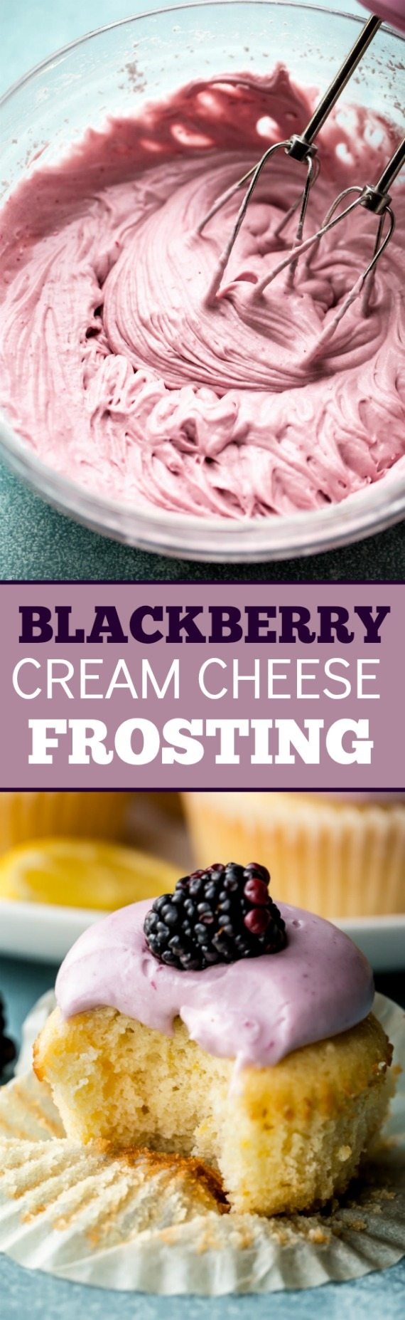 Creamy Silky And Smooth Blackberry Cream Cheese Frosting Made From Blackberry Puree The